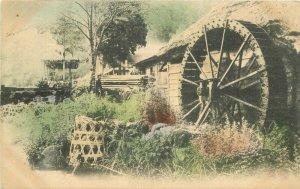 C-1910 Waterwheel Mill Japan hand colored undivided Postcard 11910