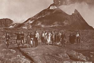 Napoli Una Gita Al Vesuvio Volcano Real Photo Antique Postcard