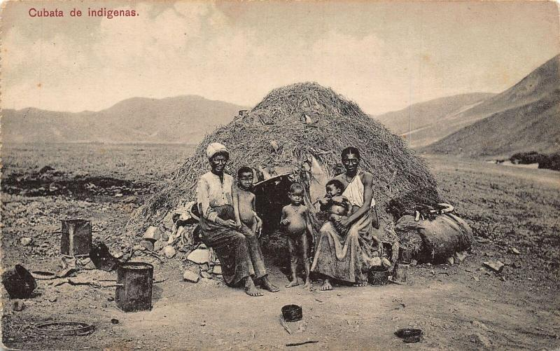 Cape Verde Cubata de Indigenas Family Children Postcard
