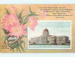 Divided-Back STATE FLOWER AND CAPITOL Helena Montana MT HM6775