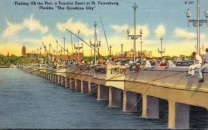 Florida St Petersburg Fishing Off The Pier 1953