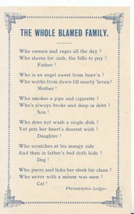 Literature Postcard  - Poems / Proverbs - 'The Whole Blamed Family' - Ref 18650A