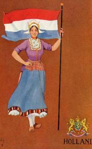 Holland - Lady and Flag   *Artist: St. John