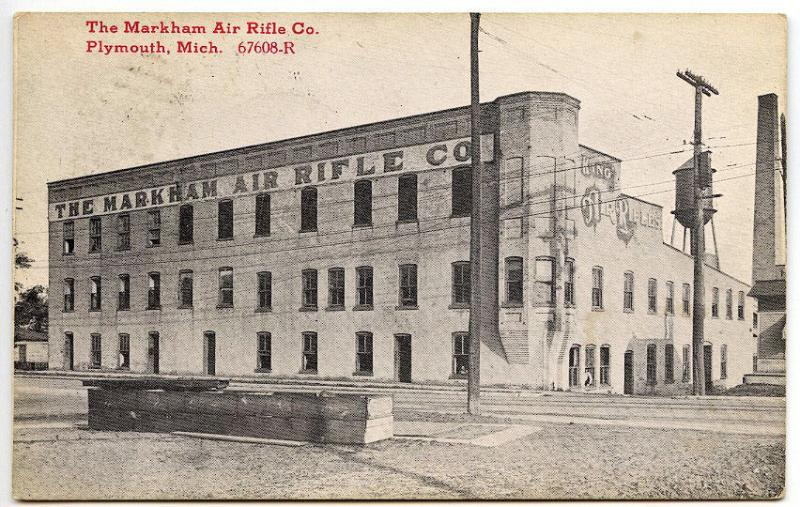 Plymouth MI The Markham Air Rifle Co. 1916 Postcard