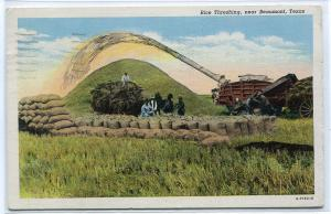 Rice Threshing Farming Scene Beaumont Texas 1941 postcard