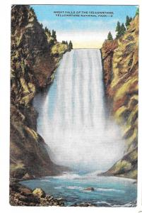 WY Yellowstone National Park Great Falls Vintage E.C. Kropp Postcard SPRR