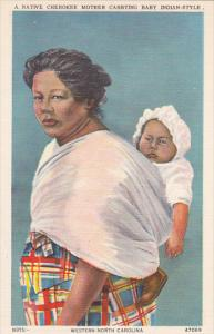Native Cherokee Mother Carrying Baby Indian Style Western North Carolina