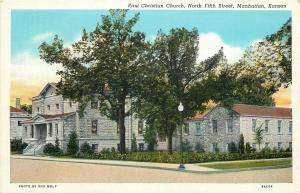Manhattan KS~Stone First Christian Church & Parsonage on N 5th St~1939 Postcard