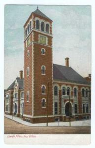 Post Office, Lowell, Massachusetts, MA, 1907 UNDivided Back