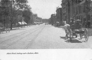 Jackson Michigan~Main Street Looking East~Horse Wagon From Behind~1909 B&W PC