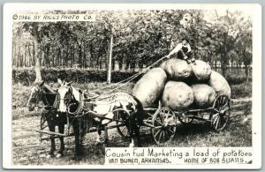 VAN BUREN AR POTATOES LOAD EXAGGERATED VINTAGE REAL PHOTO POSTCARD RPPC  farming