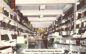 Nogales-Sonora Mexico~Interior of Tony's Curios~Leather Good Factory 1958