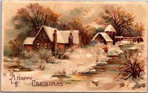 Happy Christmas Hold to Light, Houses Snow Moon Creek c1908 Postcard J09