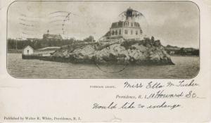 Pomham Light Providence RI Rhode Island c1906 Antique Postcard E8