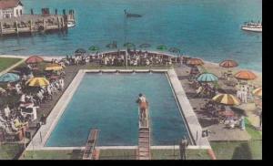 Virginia Old Point Comfort Swimming Pool Hotel Chamberlain Handcolored Albertype