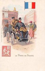 La Poste en France, Automobile Auto Vehicle Car, Postmen Chromo Postcard