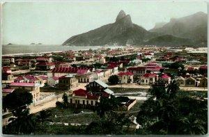 Vintage Rio de Janeiro, BRAZIL Tinted Photo RPPC Postcard Panorama View Ipanema