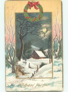 Divided-Back NEW YEAR SCENE Great Postcard AA2179