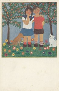 VIENNA, Austria, 1900-10s; Drawing of children, dog, cat, flowers, HERTA BREITA