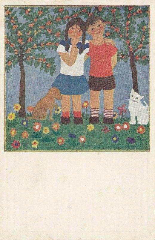 VIENNA, Austria, 1900-10s; Drawing of children, dog, cat, flowers, HERTA BREITA