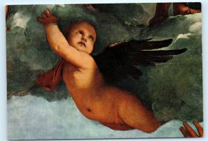 Venezia Basilica dei Frari Nude Baby Angel with Wings Vintage 4x6 Postcard A42