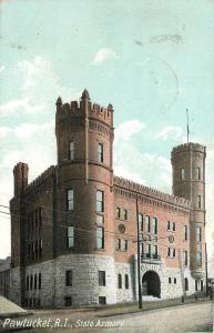 Pawtucket Rhode Island~Stone Foundation~State Armory Corner View 1911 Postcard