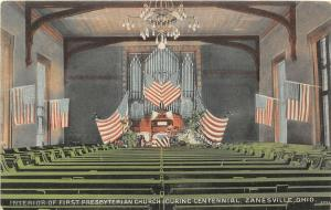 F27/ Zanesville Ohio Postcard c1910 Presbyterian Church Interior Centennial