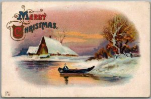 Vintage MERRY CHRISTMAS Embossed Postcard Winter Boating Scene Dated 1918
