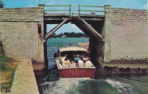 Somerset Bridge, World's smallest drawbridge, Ovation, power boat going under...