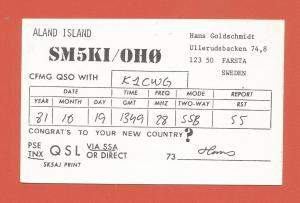 QSL AMATEUR RADIO CARD – ALAND ISLANDS, FINLAND – 1981