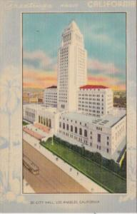 Greetings From California Los Angeles City Hall Blue Border