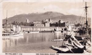 Docks Hobart Tasmania Australia Real Photo Old Postcard