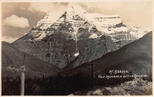 Mt. Robson, the Monarch of the Rockies, Early Real Photo Postcard, Unused
