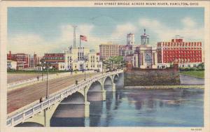 Ohio Hamilton High Street Bridge Across Miami River 1944 Curteich