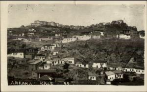 Ankara Turkey Homes on Hill Real Photo Postcard