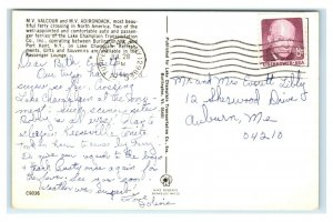 Postcard Beautiful Lake Champlain Ferry Crossings 1975 N22