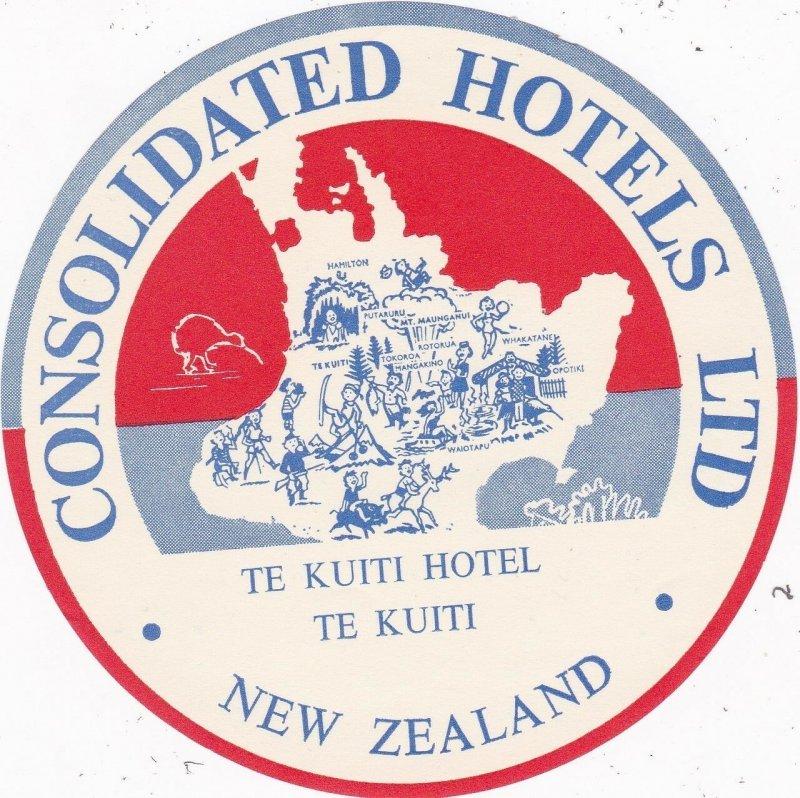 New Zealand Te Kuiti Hotel Te Kuiti Vintage Luggage Label sk3781