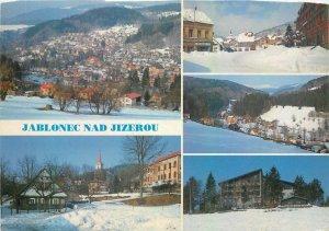 Czech Republic Jablonec winter time multiview Postcard