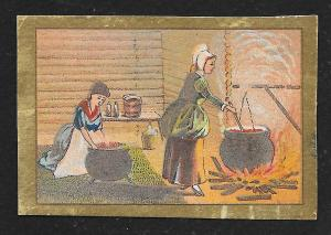 VICTORIAN TRADE CARD Women Cooking