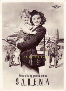C-1948 Belgium Real Photo Oversize PC: Sabena Airlines Stewardess, Child & Logo