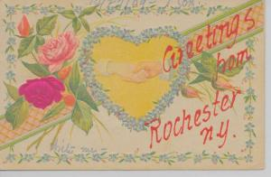 Rochester New York Greetings From shaking hands silk roses antique pc Z22018