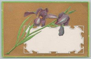 Flowers Greetings~Purple Irises over Gold Background~c1910 Postcard