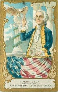Washington Taking the Oath US President Patriotic Embossed Postcard