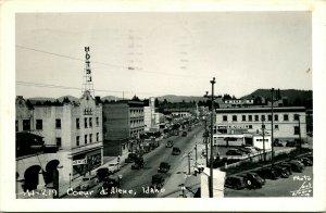 1948 Postcard RPPC S Higgens Ave Bird's Eye Coeur D'Alene ID Idaho Wilma Theater