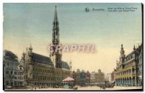 Old Postcard Brussels Hotel de Ville and Grand Place