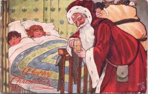 Christmas Santa Claus Children Sleeping TUCK Oilette H. Sandford Postcard E32