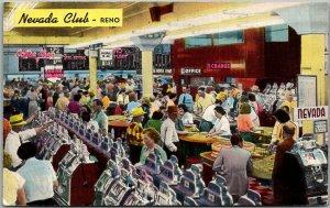 Reno, Nevada Postcard NEVADA CLUB CASINO Gaming Tables Slot Machines c1950s