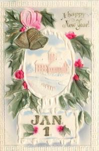 New Year~Jan1 Oval Frame~Green Red Holly Berry~Gold Bell~Tan Church~Airbrushed