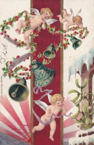 CHRISTMAS, 1900-10s; Cherubs flying with Holly Ropes & Ringing Bells, Mistletoe
