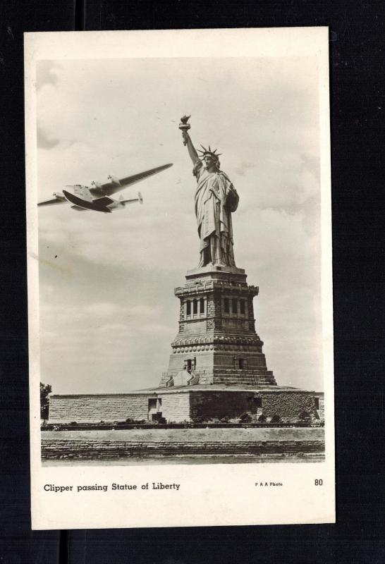 Mint USA Seaplane RPPC postcard Yankee Clipper Flying Statue of Liberty Aircraft